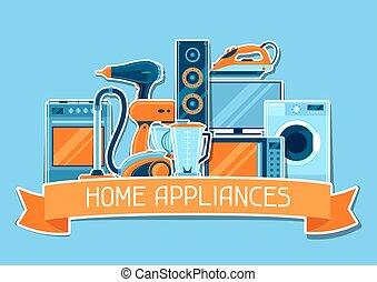 買い物, 項目, 世帯, セール, appliances., 広告, 背景, ポスター, 家
