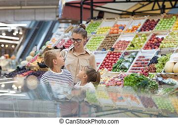 買い物, 2, スーパーマーケット, 母