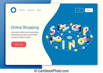 買い物, concept., デザイン, オンラインで