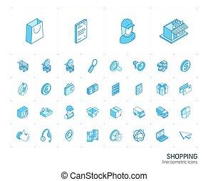 買い物, icons., イラスト, ベクトル, 線, 3d, 等大