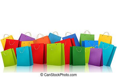 買い物, illustration., カラフルである, concept., 割引, ベクトル, 背景, bags.