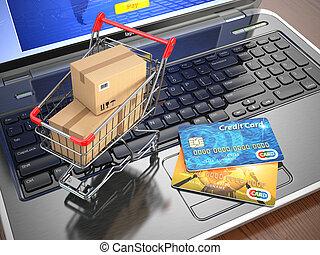 買い物, laptop., カート, クレジット, e-commerce., カード