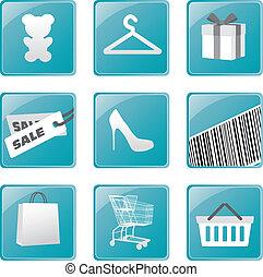 買い物, set., ベクトル, デザイン, アイコン