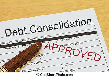 貸款, 債務, 适用, 鞏固, 批准