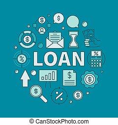貸款, 圓, 鮮艷, 插圖