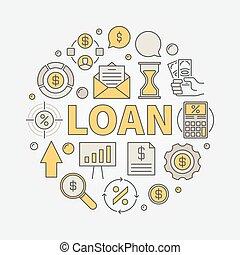 貸款, 輪, 鮮艷, 插圖
