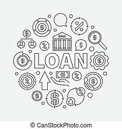 貸款, 輪, outline, 插圖