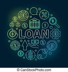 貸款, 輪, outline, 鮮艷, 插圖