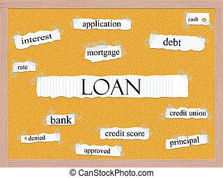 貸款, corkboard, 詞, 概念