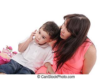 費やしなさい, わずかしか, 時間, 彼女, 息子, 一緒に。, 母, フォーカス, 若い, boy.