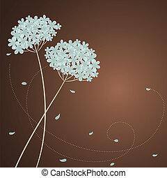 賀卡, 由于, 藍色, 八仙花屬