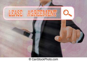 賃貸料, 写真, メモ, 借りなさい, 同意する, 用語, 執筆, agreement., 契約, パーティー, ビジネス, 提示, 1(人・つ), property., showcasing