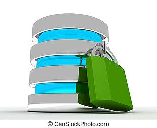 資料庫, 以及, 計算机數据, 安全, 概念, ., 3d, 提供, 插圖