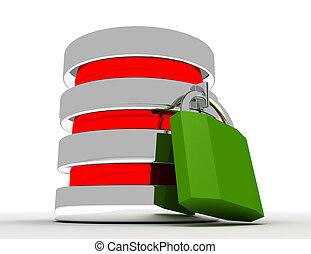 資料庫, 以及, 計算机數据, 安全, 概念, ., 3d, 提供, illustrationd