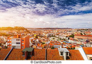 資本, ポルトガル, パノラマ, 町, 航空写真, jorge, パノラマの光景, 城, リスボン, 古い, sao, ...