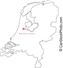 資本, 地図, アウトライン, netherlands, ベクトル, 都市, イラスト, amsterdam.
