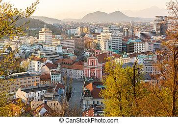 資本, 社会, sunset., 光景, スロベニア, pandemic, 処置, ウイルス, 通り, の間, ...