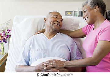 資深 夫婦, 在, 醫院房間