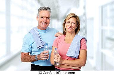 資深 夫婦, 由于, 瓶子, ......的, water.