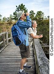 資深 夫婦, 遠足, 以及, birdwatching, 上, 老, 木制, 腳橋梁