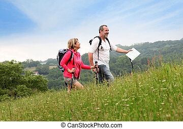 資深 夫婦, 遠足, 在, 自然, 風景