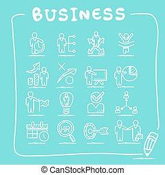 資源, ビジネス, セット, アイコン, 人間