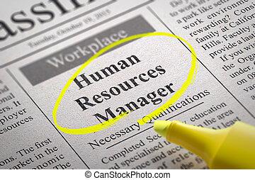 資源, マネージャー, 空き, 新聞。, 人間