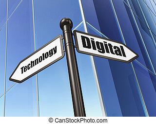 資訊, concept:, 數字技術, 上, 建築物, 背景