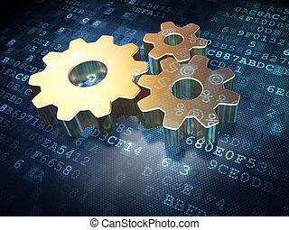 資訊, concept:, 黃金, 齒輪, 上, 數字的背景