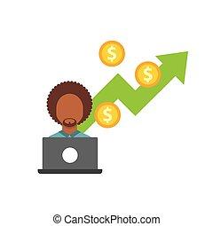 資金, 成長, 平ら, ビジネス アイコン
