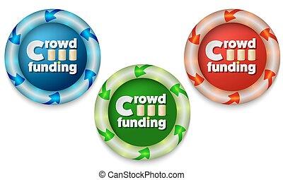 資金, 群集, アイコン, 色, ライト, 3, 背中, 言葉