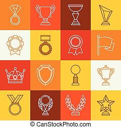 賞, そして, トロフィー, スポーツ, ∥あるいは∥, ビジネス, 線, アイコン, セット