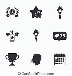 賞, カップ, winner., icons., 場所, 賞, 最初に
