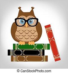 賢い, フクロウ, ∥で∥, books.