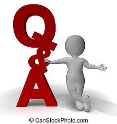 質問, そして, 答え, q&a, 印, そして, 3d, 特徴, ある, シンボル, ∥ために∥, サポート