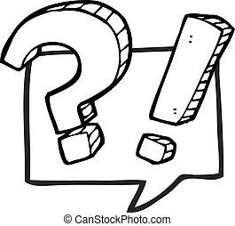 質問, スピーチ, 黒, 白, 泡, 漫画