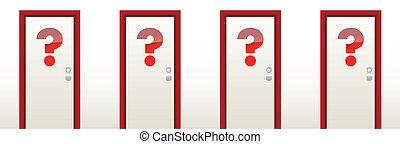 質問, ドア, 閉じられた, 印