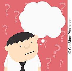 質問, ビジネスマン, 印, 漫画, バー