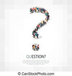 質問, ベクトル, 人々