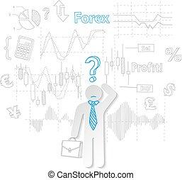 質問, ベクトル, 株, forex, 取引, トレーダ, シンボル
