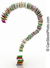 質問, 本, 印, 形作られる, 概念