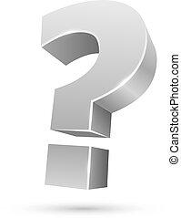 質問, 隔離された, 印, バックグラウンド。, 白, 3d