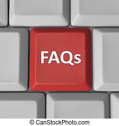 質問, faqs, コンピュータのキー, キーボード, frequently, 尋ねられた, 赤