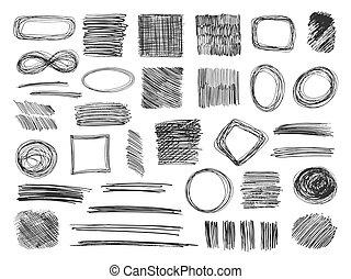 質地, 鉛筆, 略述, 集合, frames., 雜文, shapes., 手, 矢量, sketched, 畫, isoloted, doodles.