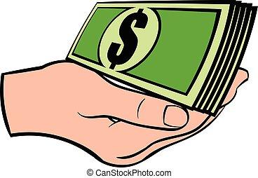 賬單, 美元, 卡通, 圖象, 手