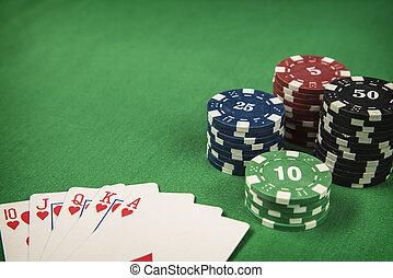賭けることは 欠ける, そして, ポーカー, カード, 上に, 緑のフェルト, 背景