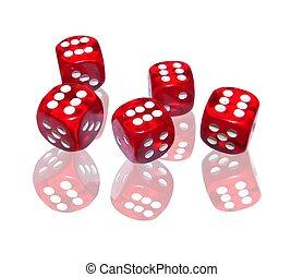 賭博, 由于, 紅色, 骰子