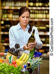 購入, スーパーマーケット, ワイン