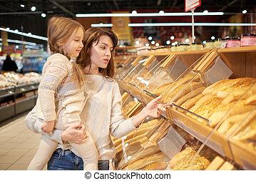 購入, 母, 若い, bread