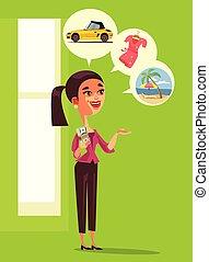 購入, 財政, vacation., お金, 家, 通貨, デザイン, 夢を見ること, 微笑, 繁栄, 利益, 特徴, 隔離された, 保有物, 幸せ, 平ら, 女, イラスト, 漫画, 給料, について, グラフィック, 成功, 自動車, ドル, 消費者